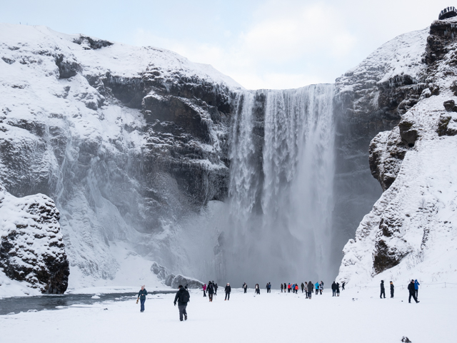 La cascade de Gluggafoss en hiver